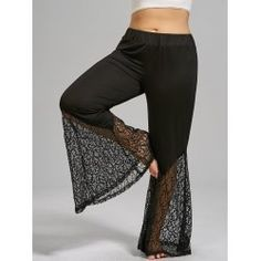70e5f71b49e Plus Size Lace Trim High Waist Flare Pants - Black 4xl Cotton Flare Pants  Palazzo Pants