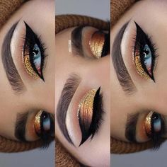 21 Makeup Ideas for Thanksgiving Dinner: #5. GORGEOUS GOLD GLITTER MAKEUP; #makeup