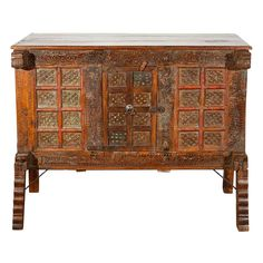 Moroccan Tribal Hand Carved Trunk | From a unique collection of antique and modern blanket chests at https://www.1stdibs.com/furniture/storage-case-pieces/blanket-chests/