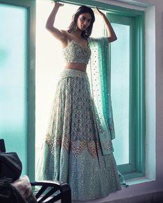 Inaayat : our Mughal printed embellished Lehenga that's perfect for Sanjeet night or a beautiful day wedding. Shot by Anubhav Sood Make… Indian Bridal Outfits, Indian Bridal Lehenga, Indian Designer Outfits, Pakistani Bridal, Designer Dresses, Indian Gowns Dresses, Pakistani Dresses, Indian Wedding Dresses, Punjabi Wedding