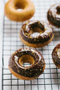 pistachio almond baked donuts with dark chocOlate glaze