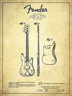 Fender Poster featuring the drawing Bass Guitar Patent Drawing From 1960 by Aged… #patentdrawing