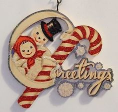 Mr-Mrs-SNOWMAN-w-CANDY-CANE-GREETINGS-Glitter-CHRISTMAS-ORNAMENT-Vtg-Img
