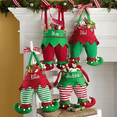 Jingle Bell Elf Pants Stocking | Personal Creations - Santa's little helpers will get a kick out of hanging these magically elf-tastic decorations.