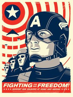 Mondo Tees commissioned poster designs for Captain America: The First Avenger created by Eric Tan. Posters Geek, Omg Posters, Retro Posters, Awesome Posters, Event Posters, Film Captain America, Comic Books Art, Comic Art, Comic Movies