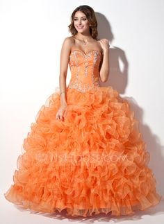 [US$ 254.99] Ball-Gown Sweetheart Floor-Length Organza Quinceanera Dress With Beading Appliques Lace Sequins Cascading Ruffles (021004706)