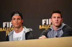 Cristiano y Messi durante la rueda de prensa