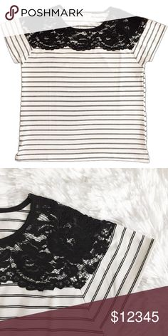 """COMING SOON! Striped T-Shirt with Lace Neckline Black and White Striped Blouse with Lace Detailing  Information:  Color: Black and White Fabric: 55% Cotton, 45% Polyester Striped pattern Lace neckline Relaxed fit  Measurements:  Small: 38"""" Bust, 23.75""""Length (from front), 25.5"""" length (from back) Medium: 40"""" Bust,24.75""""Length (from front), 26.25"""" length (from back) Large: 41"""" Bust,25""""Length (from front), 26.5"""" length (from back)  Model is 5'8"""" and is wearing size Small. ocaputostyle…"""