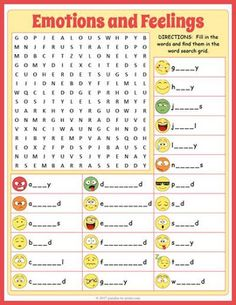 Use this word search puzzle worksheet as an activity while teaching about emotions and feelings.  Puzzlers first have to spell out each of the 24 vocabulary words and then find each one in the grid.  We've given them the first and last letters of each word plus a emoticon that illustrates the emotion.