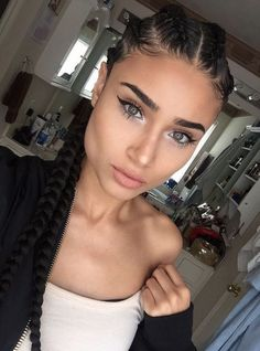 Cornrow braids hairstyle are the perfect solution for you to having sexy, stylish and trendy hair every day. Cornrows hairstyle are a versatile style that can b Girl Hairstyles, Braided Hairstyles, 4 Braids Hairstyle, Hairstyles 2018, Summer Hairstyles, Hairstyle Ideas, Curly Hair Styles, Natural Hair Styles, Pinterest Hair
