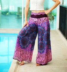 Floral Wide Leg Palazzo Style Thai Pants Rayon Pants by MaeYing