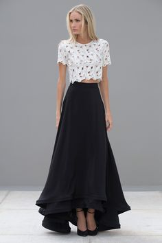 Fashion Ideas for Long Skirt, the-long-long-skirt/ I would like this in a different color. I have way too many black skirts. Latest Fashion Clothes, Fashion Outfits, Womens Fashion, Fashion Trends, Fashion Ideas, Dress Fashion, Dress Skirt, Dress Up, Silk Skirt
