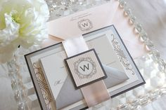 Bliss Panel Invitation Suite  Gray and Blush by lovejessicainvites