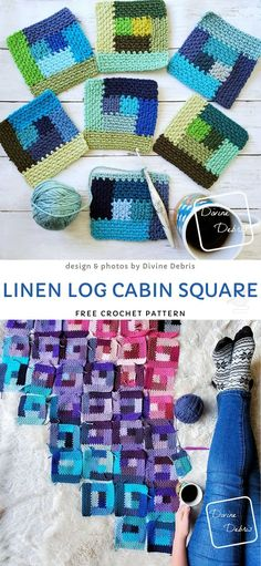 Linen Log Cabin Square Free Crochet Pattern - - The Effective Pictures We Offer You About fast Knitting Techniques A quality picture can tell you Tunisian Crochet Blanket, Filet Crochet, Crochet For Beginners Blanket, Crochet Blanket Patterns, Crochet Stitches, Knit Crochet, Knitting Patterns, Crochet Square Blanket, Easy Knitting Projects