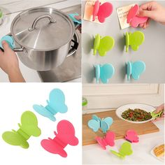 2 PCS Adorable Butterfly-Shaped Silicone Anti-Scald Device Kitchen Tool Gadget #UnbrandedGeneric