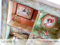 How to Make a Time to Celebrate Shabby Chic Shadow Box by Yumi Chic Shadow, Shadow Box, Wood Crafts, Paper Crafts, Diy Crafts, Inka Gold, Shabby Chic Crafts, Pocket Letters, Graphic 45