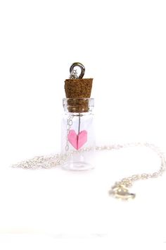 Origami Heart Glass Bottle Necklace