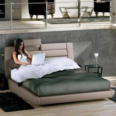 Double bed with upholstered headboard OLIVIER | Fabric bed - Flou ...