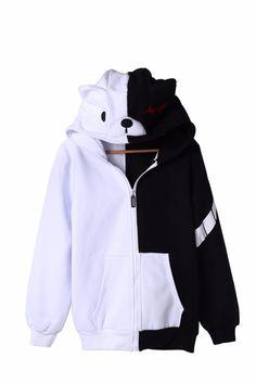 Anime Danganronpa Thicker Hoodie Monobear Monokuma Black&White Bear Jacket Unisex Zipper Cardigan Cosplay Costume
