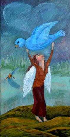 Original Oil Painting  Whimsical  Woman with Wings by Janeane Wilbur