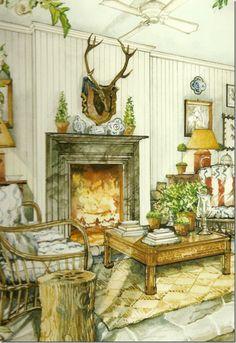 """Balderbrae"" interior watercolour by James Steinmeyer~"