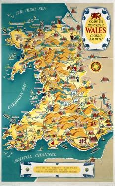 Come to Beautiful Wales, BR (LMR) poster, 1948-196 by Kerry Lee which is featuring the early layout of the Wales region of the Uninted Kingdom.