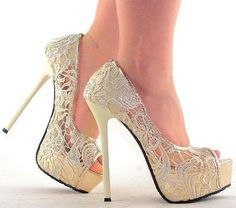 Lace Open Toe High Heels - pretty wedding shoes #shoes #fashion