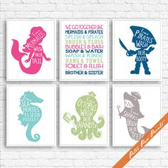 Nautical Unisex Bath Rules Prints - Set of 6 Art Prints (Unframed) (Featured in Hot Pink, Deep Sea, Aqua, Meadow, Dusty Lilac) Boys Girls   THIS LISTING IS TO PURCHASE an ART PRINT.  The Story Book Collection is meant to inspire and teach, by rekindling our memories of the stories we cherish. Through stories we learn to laugh, compose, perform, and triumph over lifes ups and downs. We hope our collection brings you back in time by transporting you, your family and friends to a happy place…
