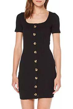 MISS SELFRIDGE Women's Black Textured Button Mini Bodycon Dress