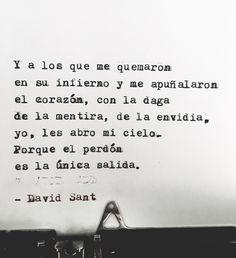 Y a los que me quemaron en su infierno y me apuñalaron el corazón, con la daga de la mentira, de la envidia, yo, les abro mi cielo. Porque el perdón es la única salida. - David Sant