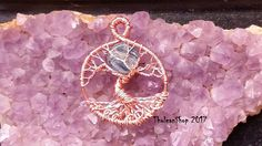 Blue Kyanite full moon Tree of Life pendant Necklace wire