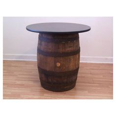 Whiskey Barrel Table With 42 Table Top-Reversible to Mahogany- ($495) ❤ liked on Polyvore featuring home, furniture, tables, grey, home & living, barrel furniture, grey furniture, top table, whiskey table and whiskey barrel furniture