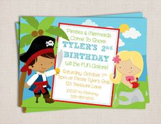 Pirates and Mermaids Theme Birthday Party by MonkeyDoodleParties, $10.00
