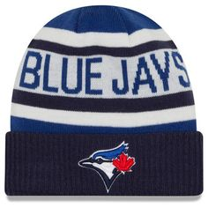 Men s Toronto Blue Jays New Era White Navy Biggest Fan 2.0 Cuffed Knit Hat  Fan a1cb2f314