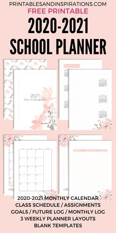 Free Printable 2020 - 2021 School Planner (Updated!) - Printables and Inspirations