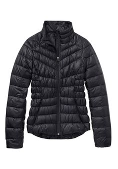 The Design That Puts Comfort First l As if water-resistant fabric, goose-down filling and elastic cuffs to keep wind from snaking up your arms weren't enough, this jacket features torso-minimizing ruching and an asymmetrical zip that doesn't rub against your chin. l $90Athleta.Gap.com