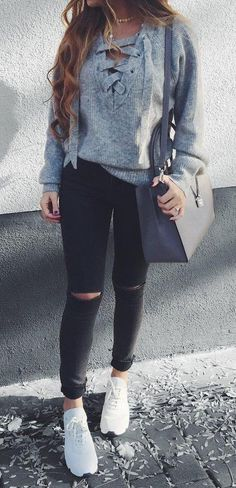 #outfit #ideas · Bow Sweater // Destroyed Skinny Jeans // Sneakers