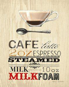 Stretched Canvas Print: Cafe Latte Expresso by Marco Fabiano : Latte Art, Café Latte, Vintage Paris, Vintage Coffee, Vintage Tea, Canvas Wall Art, Wall Art Prints, Big Canvas, Abstract Canvas