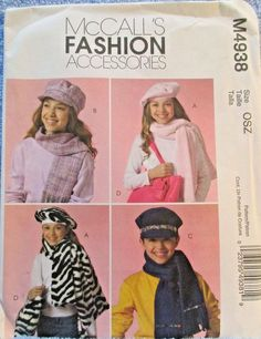 McCalls Pattern M4938 Fashion Accessories Girls Hats Scarves Tote Bag Cell Case