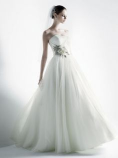 Oleg Cassini Ball Gown With 3d Floral Applique Wedding Dress