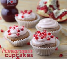Pomegranate cupcakes...yum!  Made with Pom juice, white cake mix, and powdered sugar.