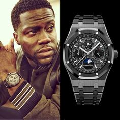 "Kevin Hart wears a Audemars Piguet Royal Oak Perpetual Calendar in Black Ceramic, Slate grey dial with ""Grande Tapisserie"" patternPresenting the finest Men's Watches collection inspiration sharing. Best gift for men in fine suits. Dream Watches, Luxury Watches, Cool Watches, Rolex Watches, Watches For Men, Handmade Bracelets, Bracelets For Men, Stone Bracelet, Bracelet Watch"