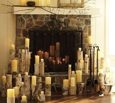 candles in fireplace - Google Search