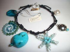 Swarovski Crystallized™ Authorized Turquoise/Bead/Pearl/Crystal toggle bracelet