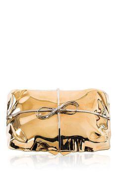 Benedetta Bruzziches Gold Cabaret Clutch by Benedetta Bruzziches for Preorder on Moda Operandi