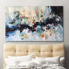 OMAR OBAID - Epiphany 8 - A large striking original abstract painting with blue and white tones. Dimensions: 152x90 cm - This large landscape one-of-a-kind abstract artwork is ideal for a living room, above the sofa, modern bedroom art, contemporary interiors. Find more original art with Free Delivery at OmarObaid.com #original #abstractart #paintings #paintingsforsale #omarobaid