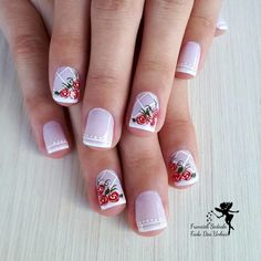 24 Ideias de Unhas desenhadas com flores fáceis de desenhar Floral Nail Art, Easy Nail Art, Nail Arts, Wedding Nails, Toe Nails, Pretty Nails, Finger, Nail Designs, Jelsa