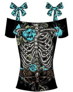 TOO FAST GOTH PUNK EMO ROCKABILLY TATTOO SKELETON PIN UP ZOMBIE SKULL SHIRT M