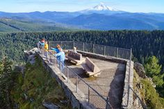 Larch Mountain view point.  On a clear day you can see Mt. Rainer, Mt. Adams, Mt. St. Helens, Mt. Hood and Mt. Jefferson.  Located in Oregon.