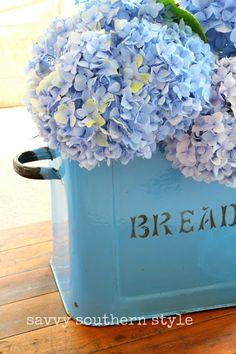 ღ ღ ღ French Blue Bread Box and Hydrangeas